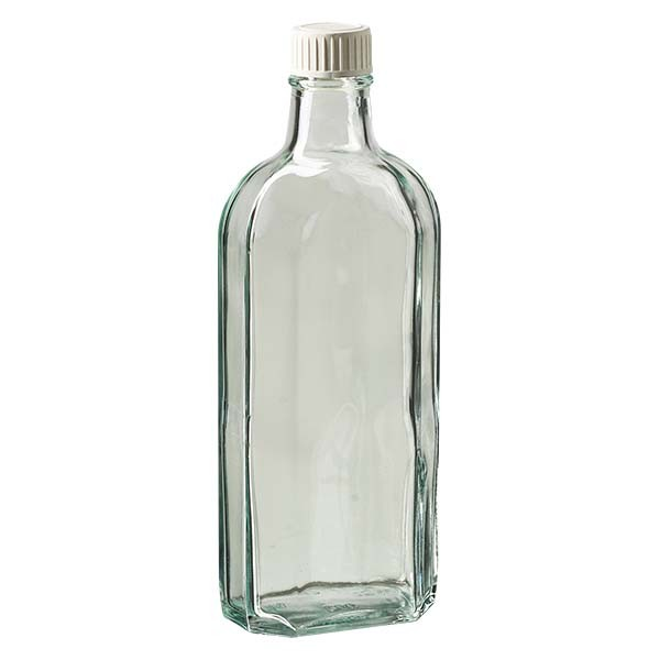 250 ml weiße Meplatflasche mit DIN 22 Mündung, inkl. Verschluss weiss aus PP mit PE-Schaumeinlage