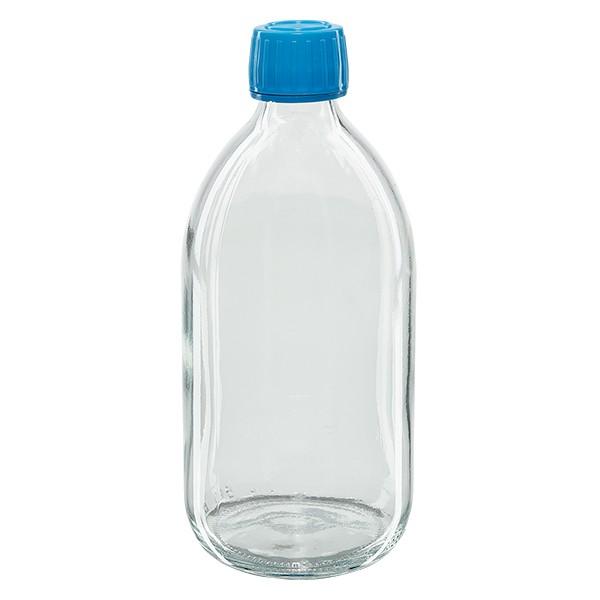 500ml Euro-Medizinflasche klar mit blauem Schraubverschluss OV