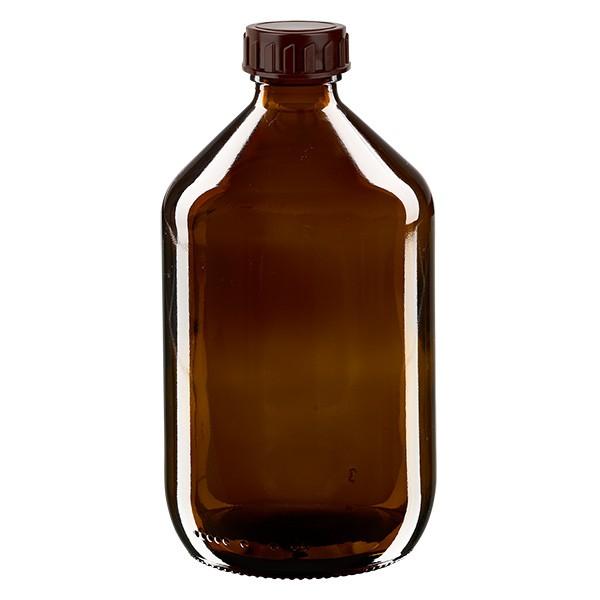 500ml Euro-Medizinflasche braun mit braunem Verschluss