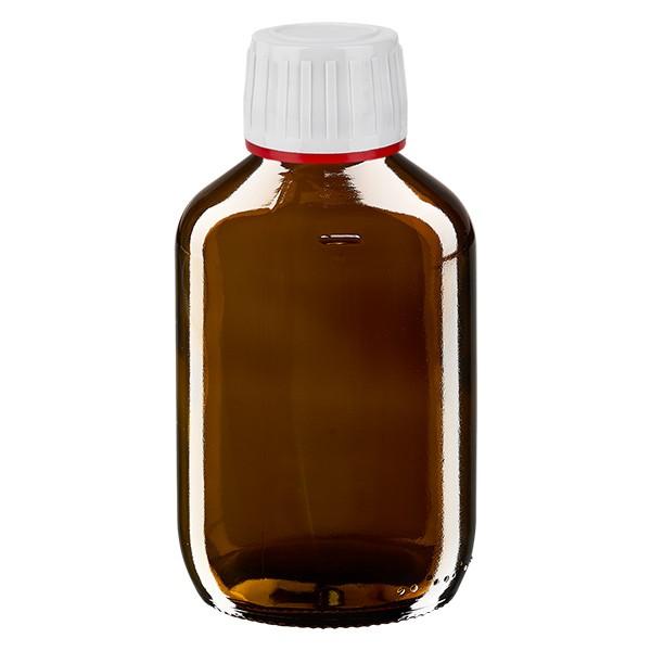200ml Euro-Medizinflasche braun mit weissem Verschluss