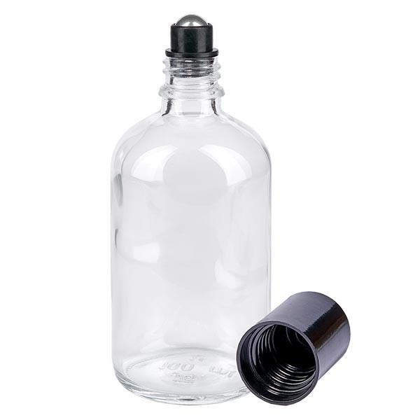 Glas Deostick Flasche klar 100ml, leerer Deo Roller (Roll On)