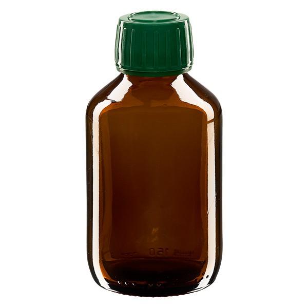 150ml Euro-Medizinflasche braun mit grünem Schraubverschluss OV