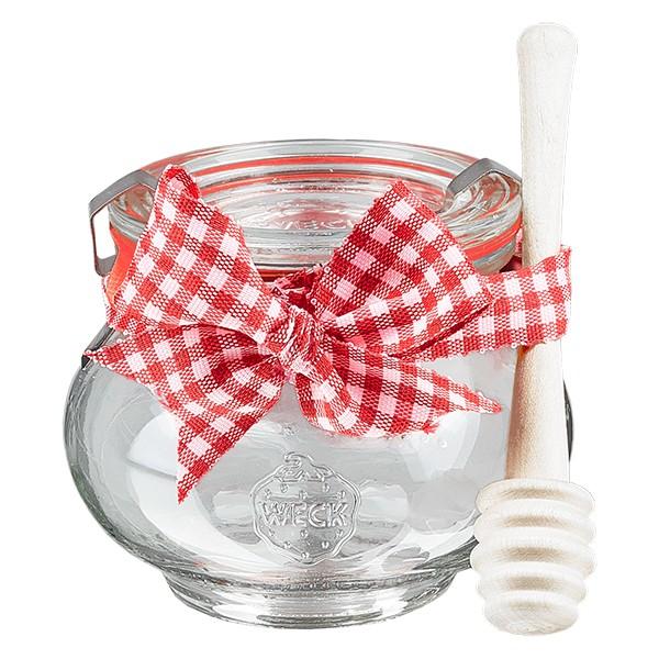 WECK-Schmuckglas 220ml Komplett mit Honiglöffel und Schleife