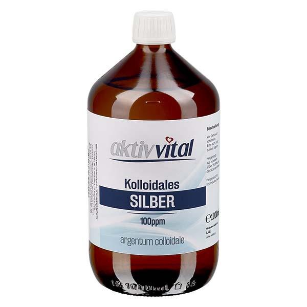 1000 ml Kolloidales Silber 100ppm Aktiv-Vital in brauner PET Flasche mit Originalitätsverschluss OV