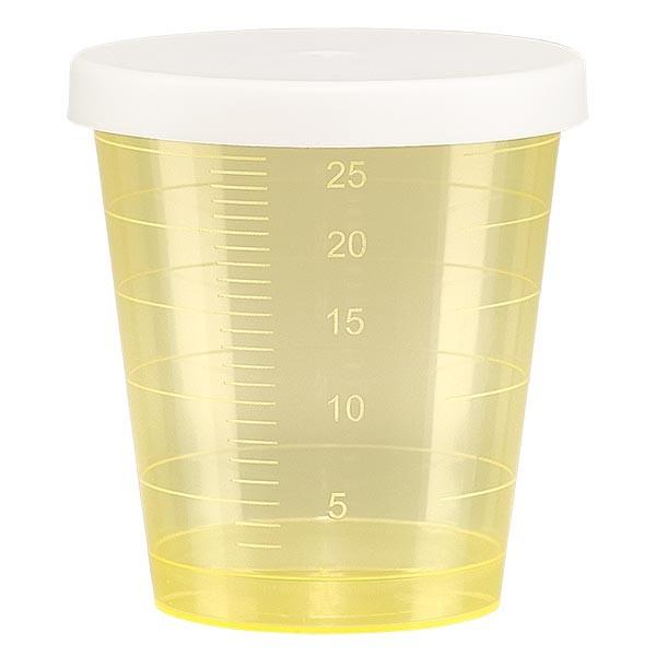 Medikamentenbecher 30ml inkl. Schnappdeckel (Medizinbecher/Schnapsbecher) Farbe: gelb
