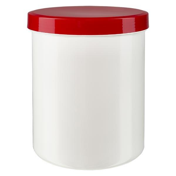 Salbenkruke 1000g weiss mit Schraubdeckel rot (PP)