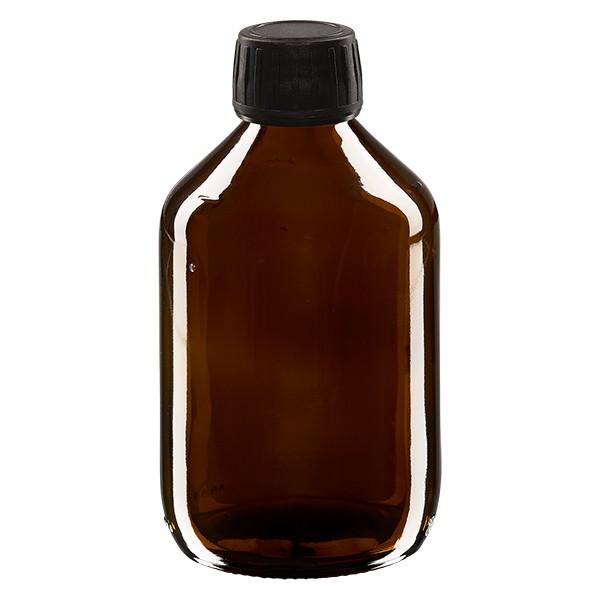 300ml Euro-Medizinflasche braun mit schwarzem Schraubverschluss OV