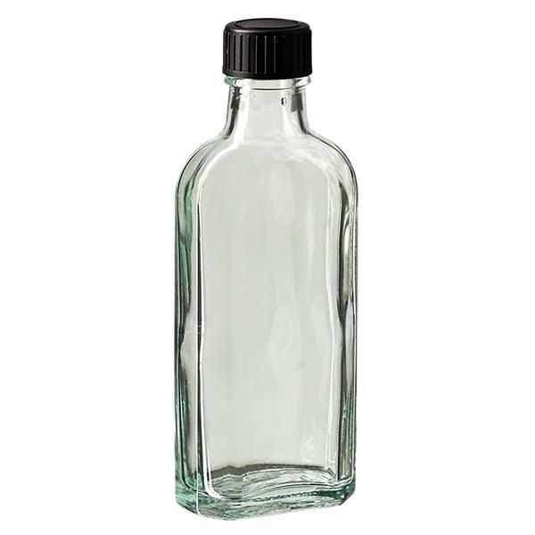 100 ml weiße Meplatflasche mit DIN 22 Mündung, inklusive Schraubverschluss DIN 22 schwarz aus LKD