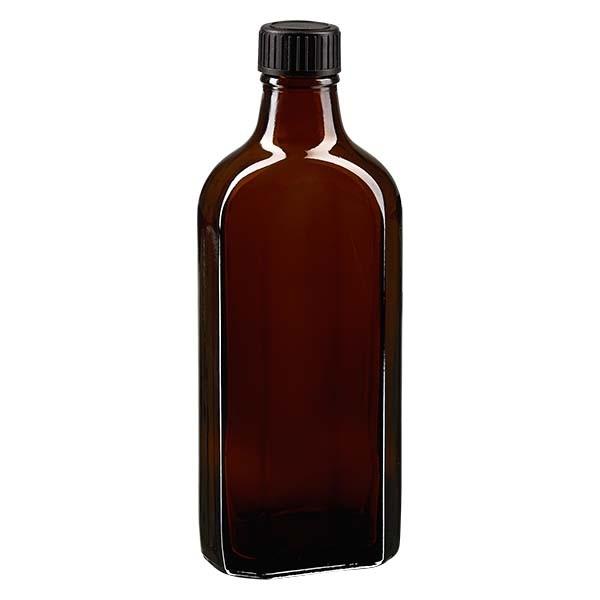 200 ml braune Meplatflasche mit DIN 22 Mündung, inklusive Schraubverschluss DIN 22 schwarz aus LKD
