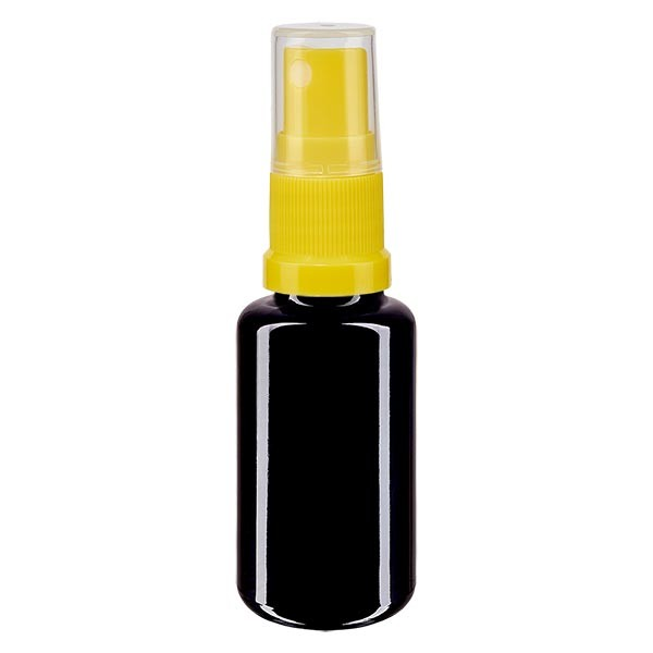Violettglasflasche 20ml mit Pumpzerstäuber gelb