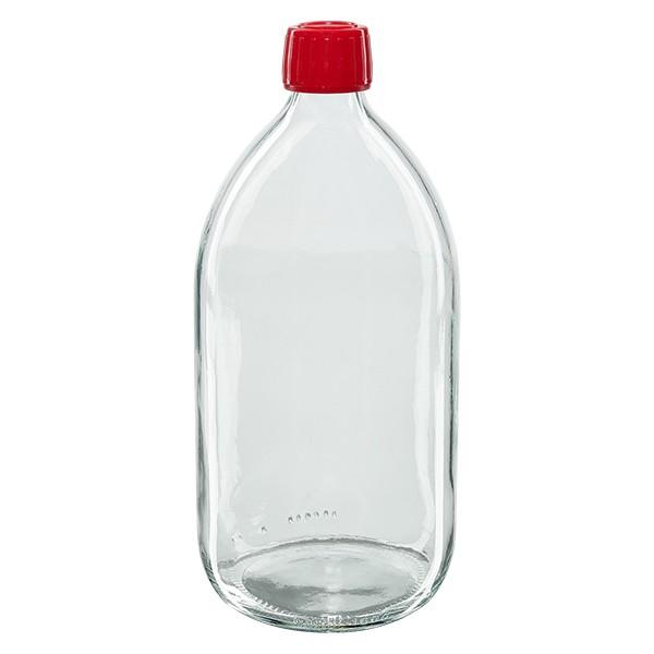 1000ml Euro-Medizinflasche klar mit rotem Schraubverschluss OV