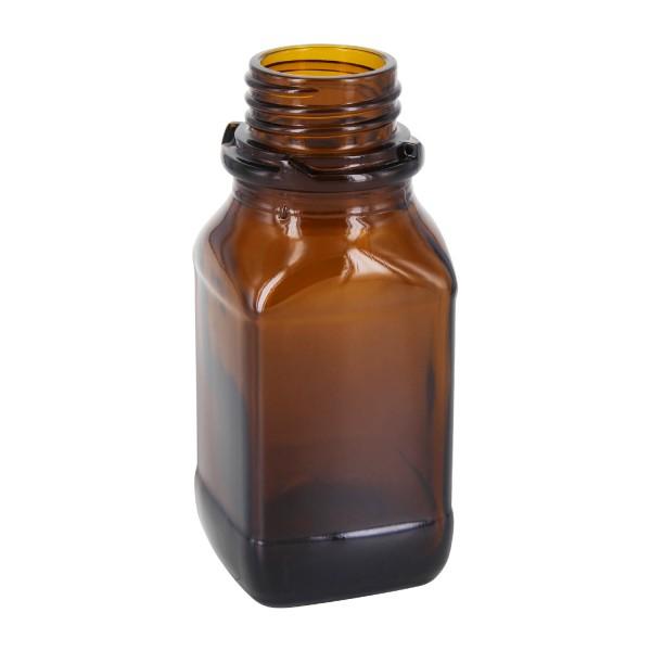 100 ml quadratische Weithalsflasche (Chemikalienflasche) Braunglas mit DIN 32 (Raster Kranz) Mündung
