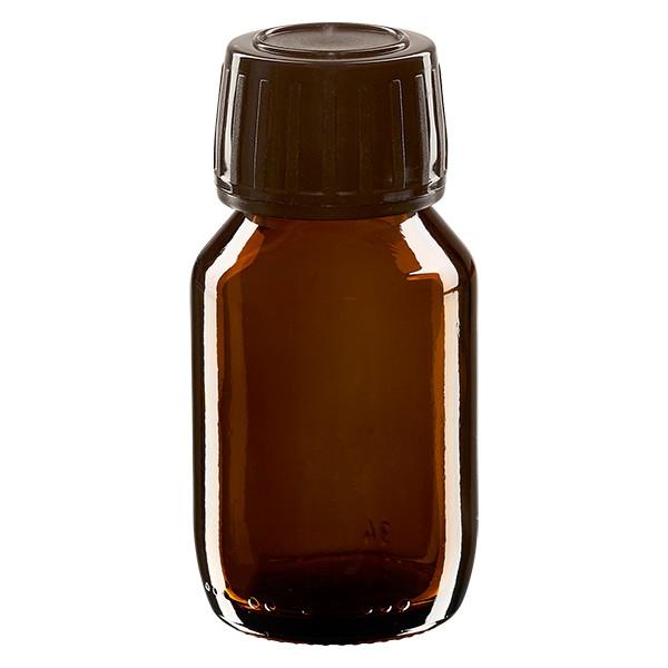 50ml Euro-Medizinflasche braun mit braunem Schraubverschluss OV
