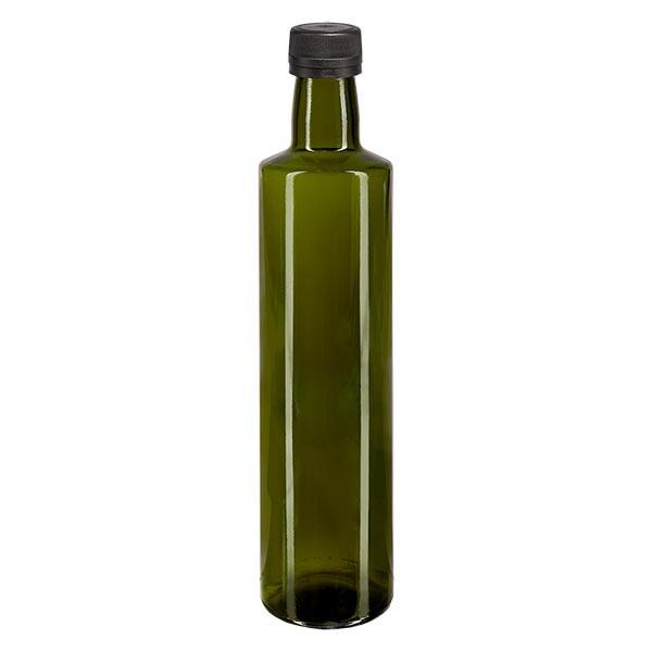 500ml Ölflasche rund Olivgrün inkl. Schraubverschluss Schwarz (PP 31.5mm) mit Ausgiessring OV