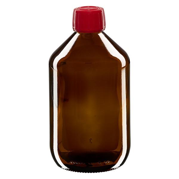 500ml Euro-Medizinflasche braun mit rotem Schraubverschluss OV