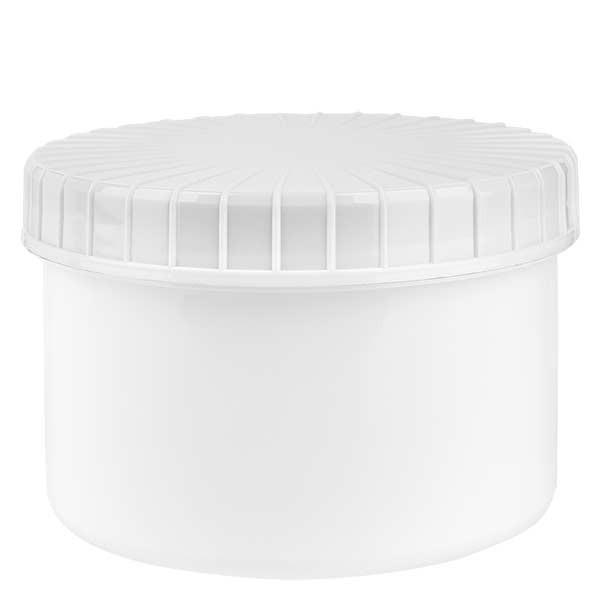 Kunststoffdose 250ml weiss mit gerilltem weissen Schraubdeckel aus PE, Verschlussart Standard