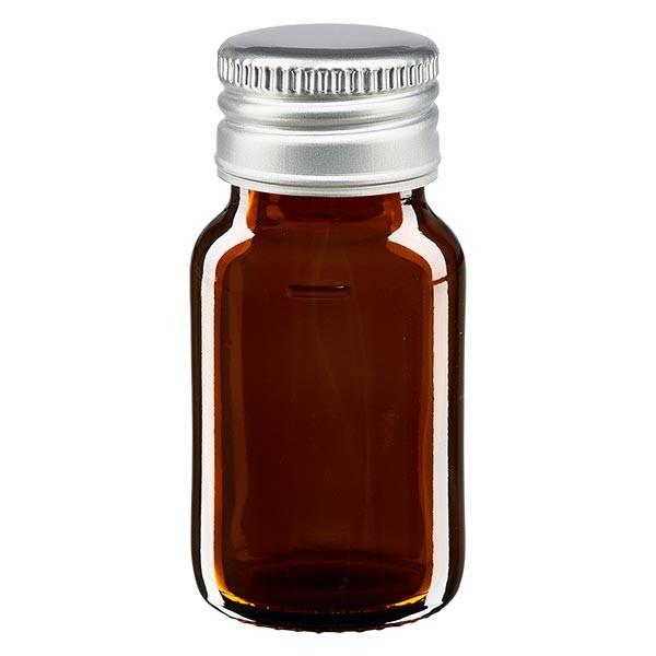 30ml Euro-Medizinflasche braun mit silbernem Aluminiumverschluss