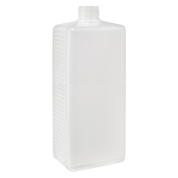 Eckige Flasche 1000ml PE natur ND 25, ohne Vers.