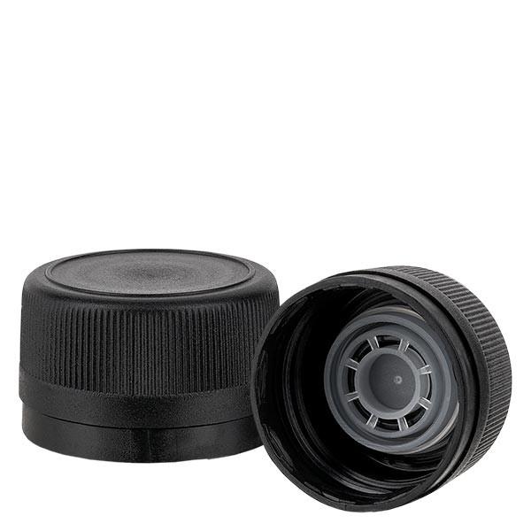 Schraubverschluss 31.5mm schwarz geriffelt mit Ausgiessring und OV