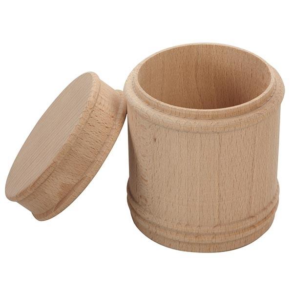 Runde Buchenholzdose mit Deckel, Ø 9cm, Höhe 11cm