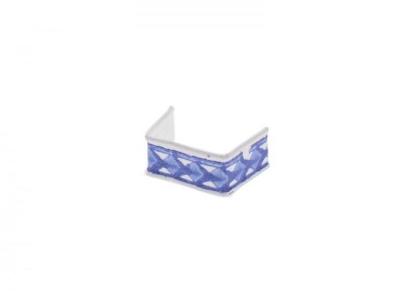 100 x U-Clip aus Papier, Länge 33, blau/weiss