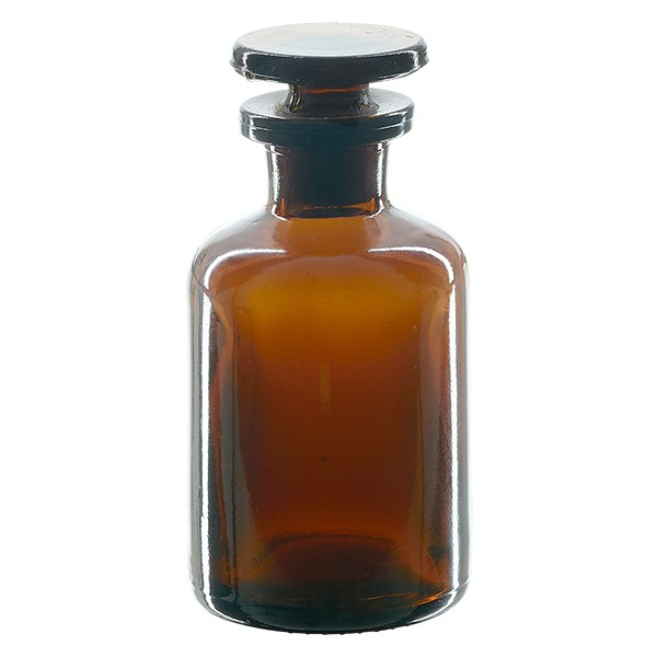 Apothekerflasche 50 ml Enghals Braunglas inkl. Glasstopfen