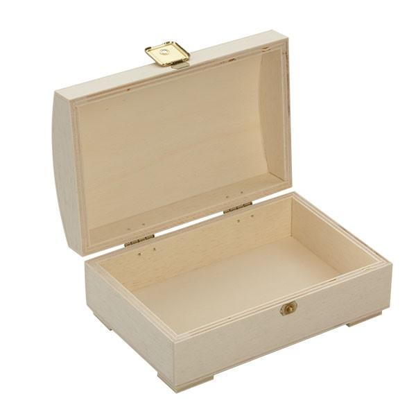 Holzbox (Truhe) mit gewölbten Deckel 15x10x6cm offen
