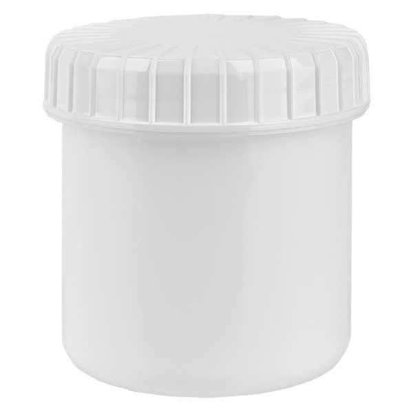 Kunststoffdose 75ml weiss mit gerilltem weissen Schraubdeckel aus PE, Verschlussart Standard