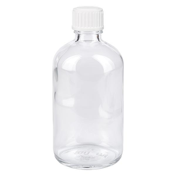 Apothekenflasche klar 100ml Schraubverschluss weiss Globuli Standard