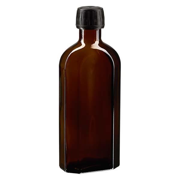 250 ml braune Meplatflasche mit DIN 28 Mündung, inklusive Schraubverschluss OV DIN 28 schwarz aus PP