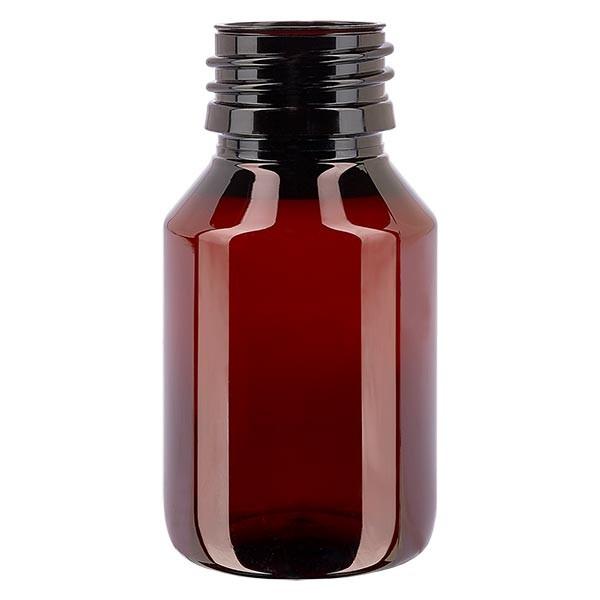 PET Medizinflasche 50ml braun PP28, o. Verschl.