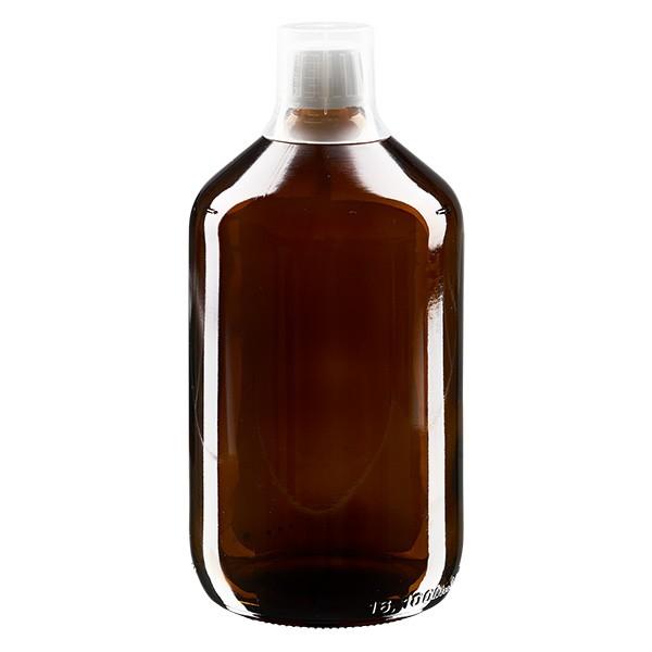1000 ml Euro-Medizinflaschen mit weissem Schraubverschluss und Dosierbecher 30ml
