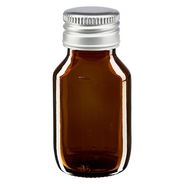 50ml Euro-Medizinflasche braun mit mit silbernem Aluminiumverschluss