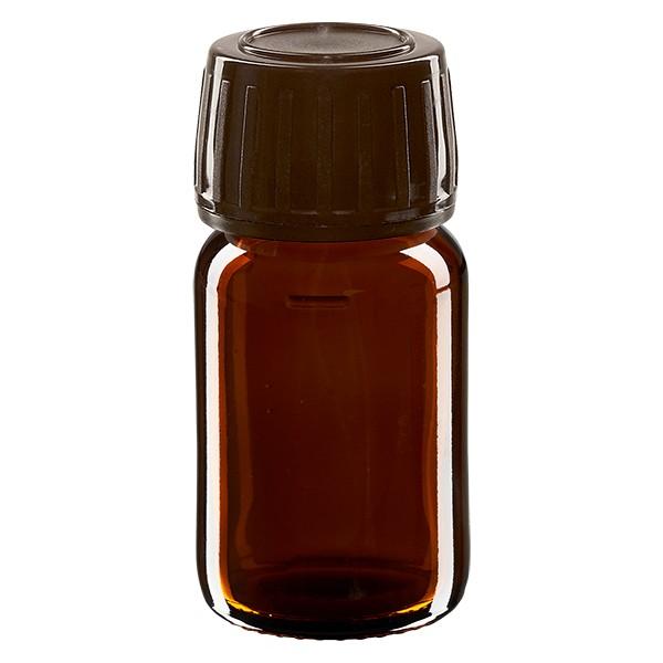 30ml Euro-Medizinflasche braun mit braunem Schraubverschluss OV