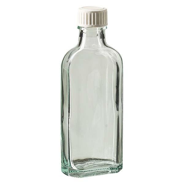 100 ml weiße Meplatflasche mit DIN 22 Mündung, inkl. Verschluss weiss aus PP mit PE-Schaumeinlage