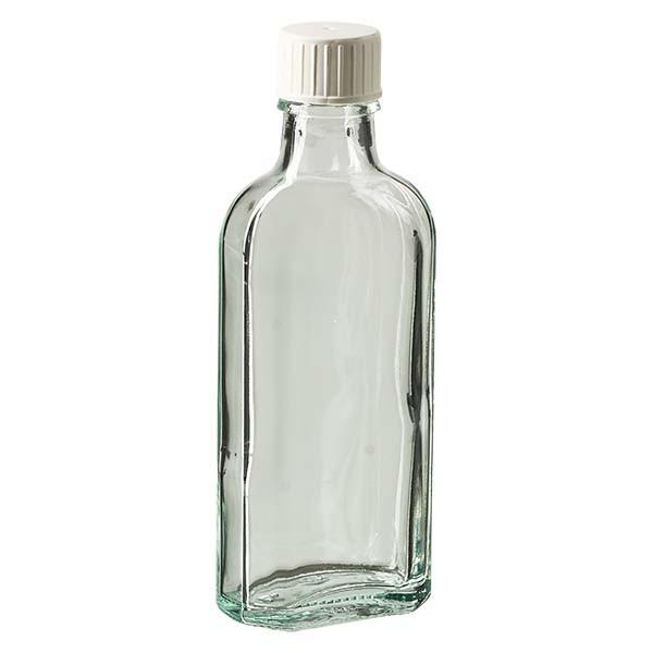 100 ml weiße Meplatflasche mit DIN 22 Mündung, inklusive Schraubverschlussweiss mit Giessring
