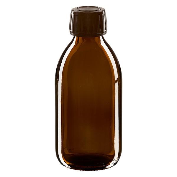 250ml Euro-Medizinflasche braun mit braunem Schraubverschluss OV