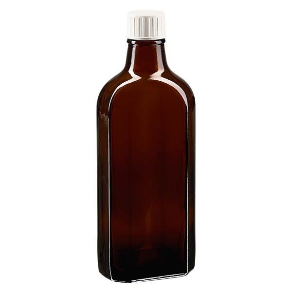 200 ml braune Meplatflasche mit DIN 22 Mündung, inkl. Schraubverschluss weiss mit Giessring