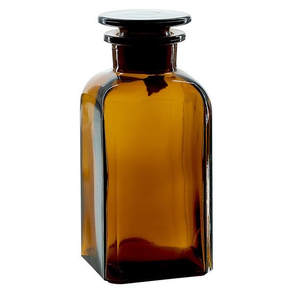 Vierkant-Apothekerflasche 350 ml Weithals Braunglas inkl. Glasstopfen