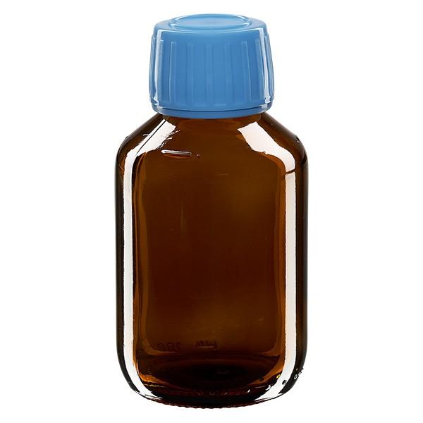 100ml Euro-Medizinflasche braun mit blauem Schraubverschluss OV