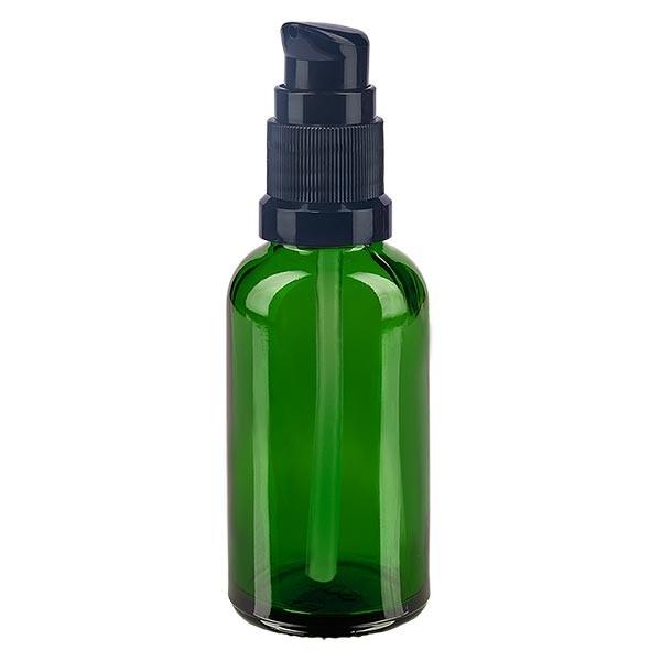 Grünglasflasche 30ml mit Pumpverschluss schwarz