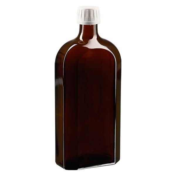 500 ml braune Meplatflasche mit DIN 28 Mündung, inklusive Schraubverschluss OV DIN 28 weiss aus PP