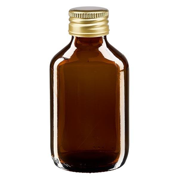 150ml Euro-Medizinflasche braun mit mit goldenem Aluminiumverschluss