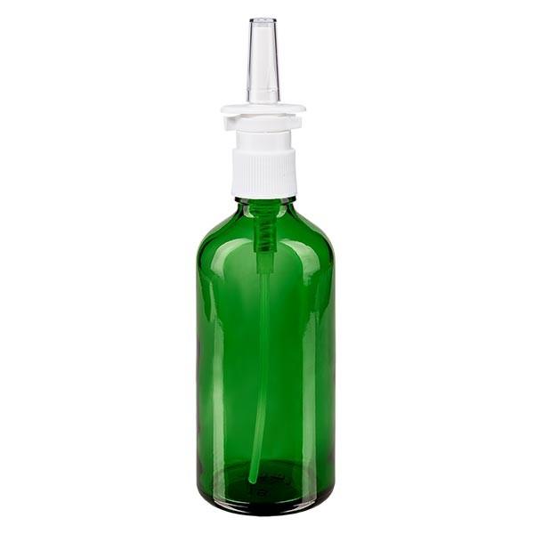 Grünglasflasche 100ml mit Nasenzerstäuber weiss