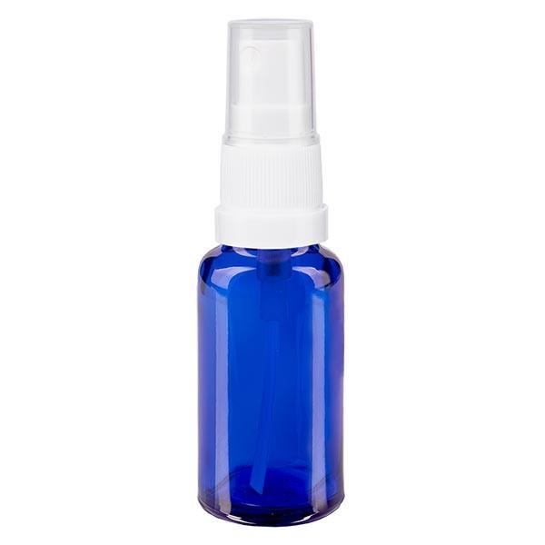 Blauglasflasche 20ml mit Pumpzerstäuber weiss