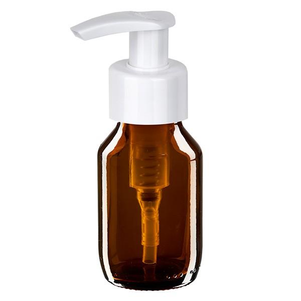 50ml Euro-Medizinflasche braun mit weisser Dispenserpumpe
