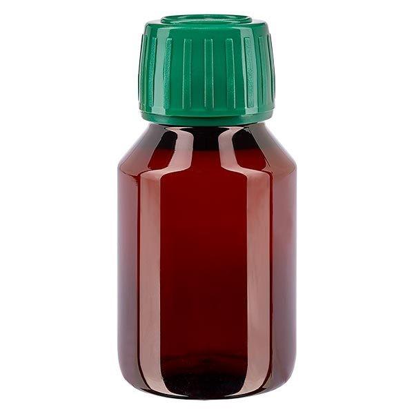 PET Medizinflasche 50ml braun (Veralflasche) PP28, mit grünem OV