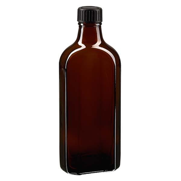 200 ml braune Meplatflasche mit DIN 22 Mündung, inklusive Schraubverschluss DIN 22 schwarz aus PP mi