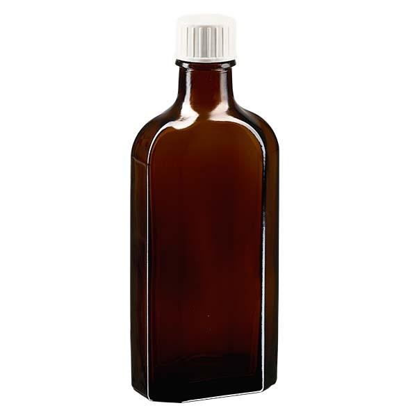 150 ml braune Meplatflasche mit DIN 22 Mündung, inkl. Schraubverschluss weiss mit Giessring