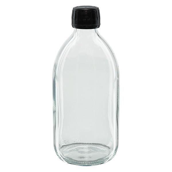 500ml Euro-Medizinflasche klar mit schwarzem Schraubverschluss OV